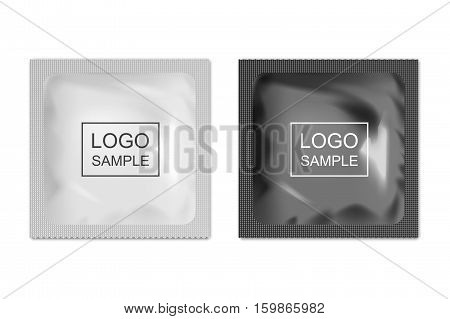 Realistic blank packaging foil wet wipes, food packing or condom template set. Vector EPS10 illustration.