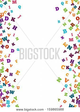 Abstract colorful alphabet ornament border isolated on white background. illustration for bright education, writing, poetic design. Random letters fly top. Book concept for grammar school.