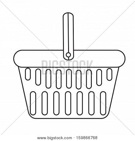 Shopping basket icon, modern line, sketch, doodle style. Plastic shopping basket in a supermarket isolated on white background. Shopping bag. Vector illustration