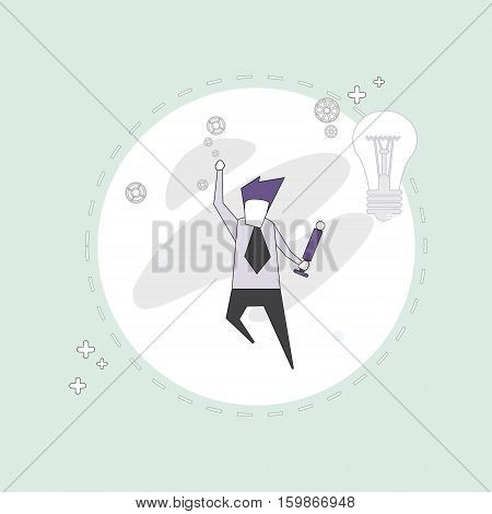 Successful Busines Man With New Idea Light Bulb Thin Line Vector Illustration
