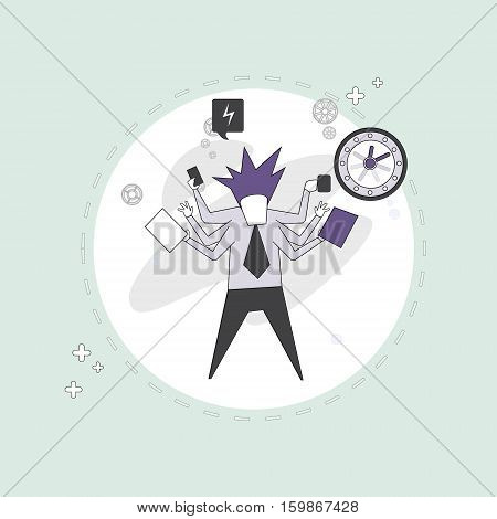 Busy Business Man Multitasking Overworked Thin Line Vector Illustration