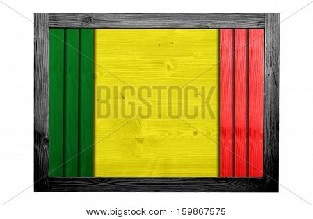 Wooden frame for decorative text and image. Reggae color concept.