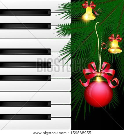 dark background abstract large music keys and the green branch of the big tree with the red decorative ball and golden bells