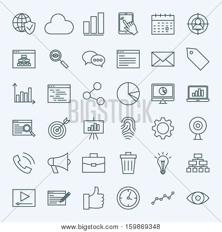 Line Web Development Icons. Vector Collection of Modern Thin Outline Search Engine Optimization Symbols.