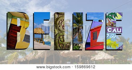 Assorted images of Belize in collage over Belize beach background