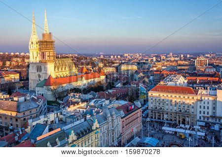 View of a main square in Zagreb Croatia at advent time from above