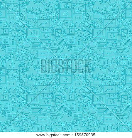 Mint Line SEO Seamless Pattern. Vector Illustration of Outline Tile Background. Web Development.