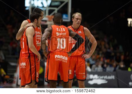VALENCIA, SPAIN - DECEMBER 3: Valencia team during spanish league match between Valencia Basket and Bilbao Basket at Fonteta Stadium on December 3, 2016 in Valencia, Spain