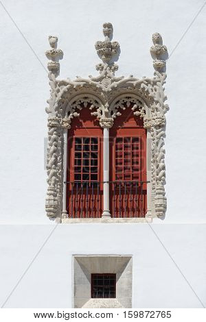 Sumptuous Manuelino-style window of Sintra Palace in Portugal
