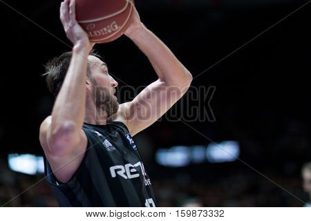 VALENCIA, SPAIN - DECEMBER 3:Axel Hervelle during spanish league match between Valencia Basket and Bilbao Basket at Fonteta Stadium on December 3, 2016 in Valencia, Spain