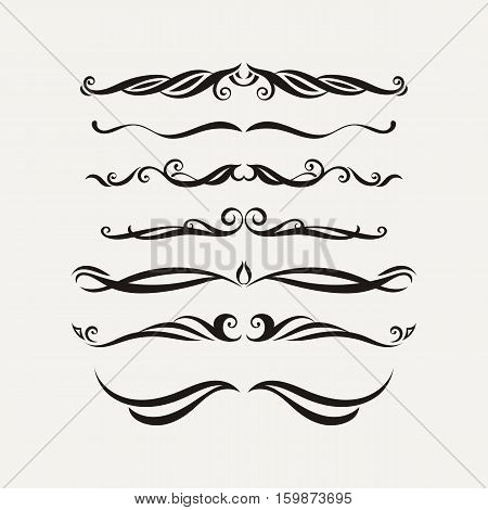 Vector set of elegant curls and swirls. Elements for design. Ornate lines.