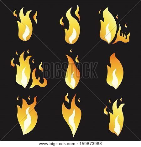 Set of animation fire and illustration of various fire. Cartoon and flat style. Explosion animation frames. Vector illustration. Black background.