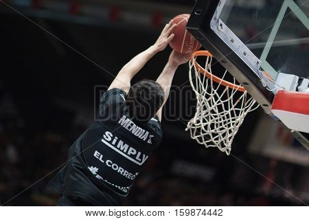 VALENCIA, SPAIN - DECEMBER 3: Borja Media during spanish league match between Valencia Basket and Bilbao Basket at Fonteta Stadium on December 3, 2016 in Valencia, Spain