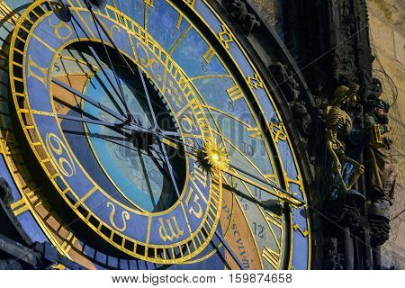 Prague Astronomical Clock in the Old Town of closeup