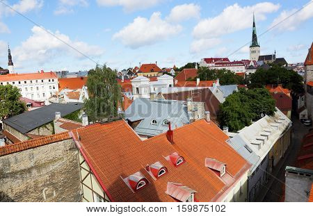 top view of the rooftops of the old town of Tallinn