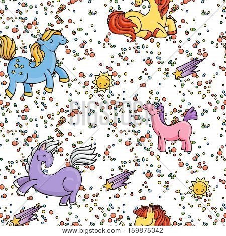 Cute seamless unicorn pattern with stars and suns. Magic pony ornament.