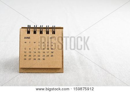 June. Calendar sheet. Two thousand and seventeen year calendar on bright background with copy space on right side.