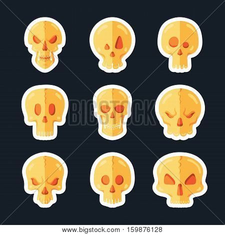 Skull icon set in a flat style. Halloween collection.