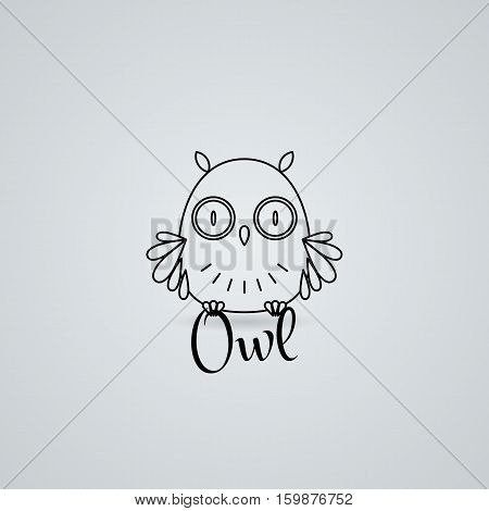 Lined owl logo or emblem. Vector illustration in line style Furry bird.