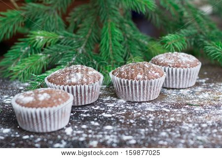 Four Christmas Cakes, Winter Snowbound Wooden Background, Fir Tree Branches