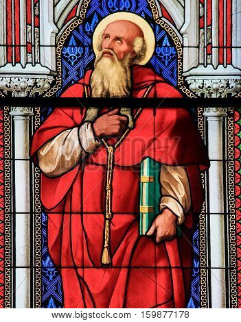 Stained Glass - Saint Jerome Or Hieronymus