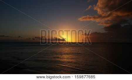 Colorful Sunset with clouds over the ocean. Turks and caicos islands.