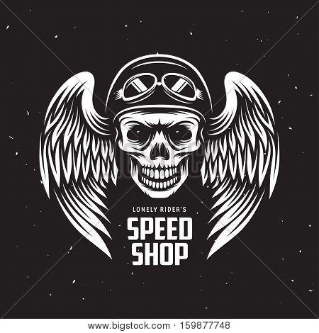 Vintage motorcycle t-shirt graphics. Speed shop label. Biker t-shirt. Motorcycle emblem. Monochrome skull in helmet. Vector illustration.
