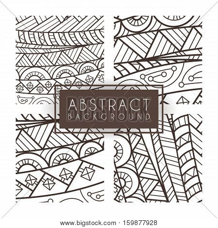 Set of four vector monochrome intricate patterns. Doodle. Zentangle. Monochromatic. Ornate ornaments.