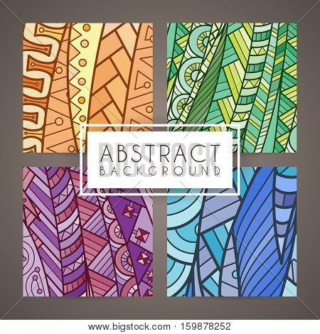 Set of four vector colorful intricate patterns. Doodle. Zentangle. Ornate ornaments.