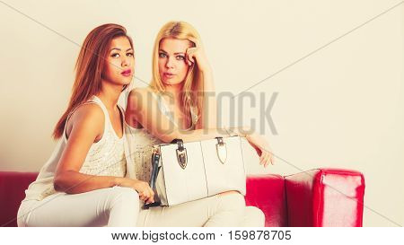 Fashionable Girls With Bag Handbag On Red Couch
