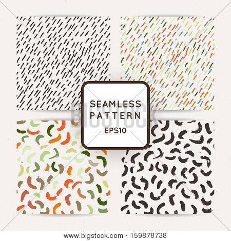 Set of seamless patterns with abstract strokes and dots. Vector background.