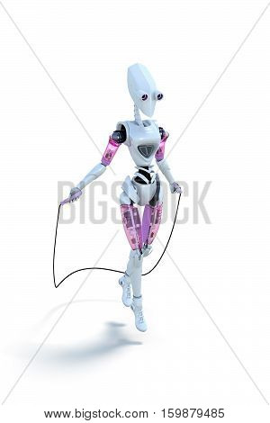 3d render of a robot exercising with a jump rope against a white background.