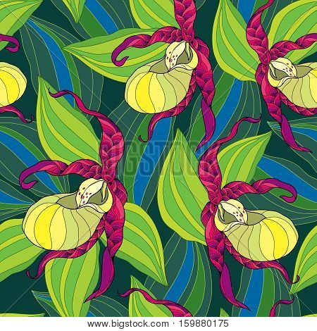 Vector seamless pattern with Cypripedium calceolus or Lady's-slipper orchid in yellow and striped leaves on the dark green background. Floral background in contour style.