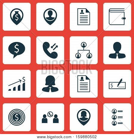 Set Of 16 Management Icons. Can Be Used For Web, Mobile, UI And Infographic Design. Includes Elements Such As Dollar, Bank, Career And More.
