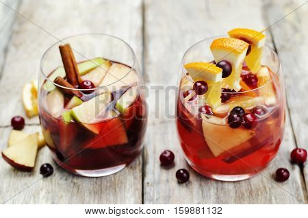 List of sangria with red and pink wine.