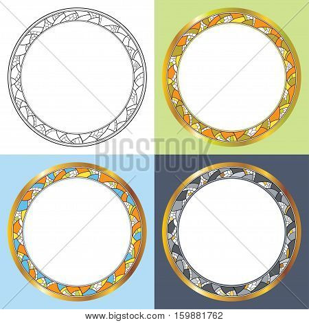 Vector set with abstract round frames. Golden rim, decorative mosaic in black and different colour. Round greeting frame with empty place for text. Design elements in contour style.