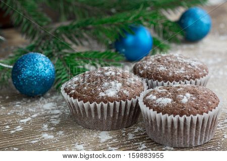 Three Christmas Cakes, Winter Snowbound Wooden Background, Blue Balls Decoration