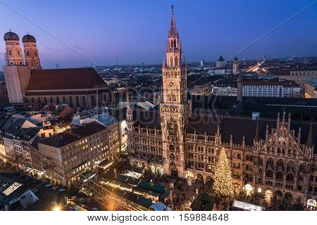 Aerial view of the Christmas market on the Mary's square (Marienplatz) in front of the new town hall (Rathaus), Munich, Germany