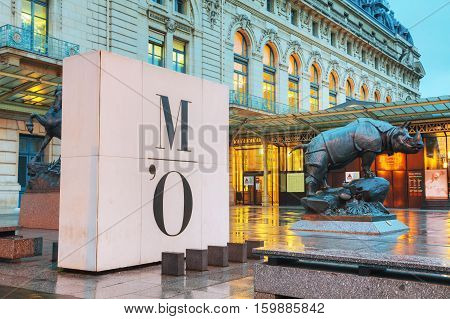 PARIS - NOVEMBER 5: Rhino sculpture at D'Orsay museum on November 5 2016 in Paris France. The Musee d'Orsay is a museum in Paris on the left bank of the Seine.