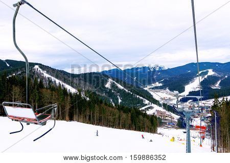 Beautiful view on Carpathian Mountains from funicular railway on ski resort