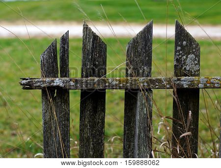 Four slats of Weathered wooden fence in rural setting