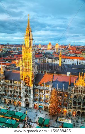 MUNICH - NOVEMBER 30: Aerial view of Marienplatz on November 30 2015 in Munich. It's the 3rd largest city in Germany after Berlin and Hamburg with a population of around 1.5 million.