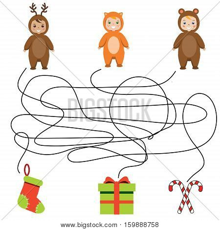 Matching children game maze kids activity. Help the children find gift boxes and christmas presents