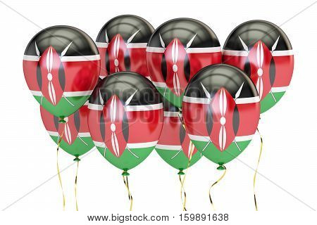 Balloons with flag of Kenya holyday concept. 3D rendering isolated on white background