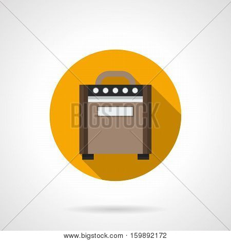 Brown wooden retro guitar combo amplifier cabinet. Speakers for electric musical stringed instruments. Music entertainment equipment. Round flat design vector icon.
