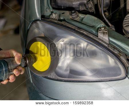 car lamp or front headlight polishing renewed headlamp