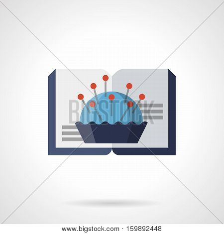 Open book and blue pincushion with red pins. Literature and tutorials for handmade, embroidery, tailoring and sewing, Hobby and needlework blog web element. Flat color style vector icon.