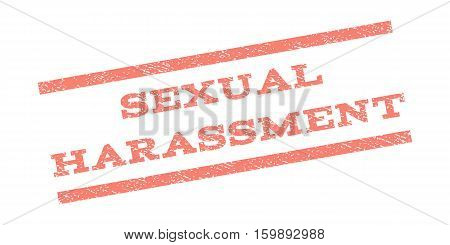 Sexual Harassment watermark stamp. Text tag between parallel lines with grunge design style. Rubber seal stamp with dust texture. Vector salmon color ink imprint on a white background.