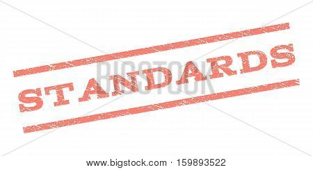 Standards watermark stamp. Text caption between parallel lines with grunge design style. Rubber seal stamp with unclean texture. Vector salmon color ink imprint on a white background.