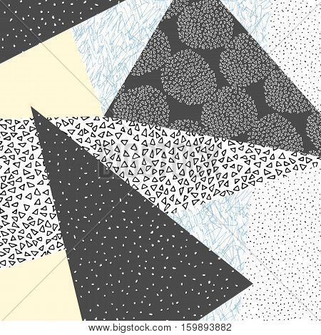 Vector hand drawn scandinavian style pattern. Elegant nordic backgoround. Hipster poster and background.